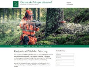 Hemsida till Västsvenska Trädspecialisten